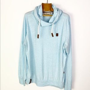 NAKETANO Solid Blue Lightweight Hoodie Sweatshirt